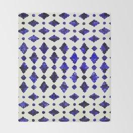 (N1) Royal Blue Traditional Moroccan Arabic Geometric Artwork Throw Blanket