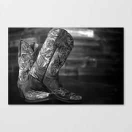 Black and White Cowgirl Boots Canvas Print