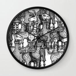A Crowd of Llamas in Pajamas by dotsofpaint Wall Clock
