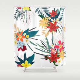 Frangipani, Lily Palm Leaves Tropical Vibrant Colored Trendy Summer Pattern with white background Shower Curtain