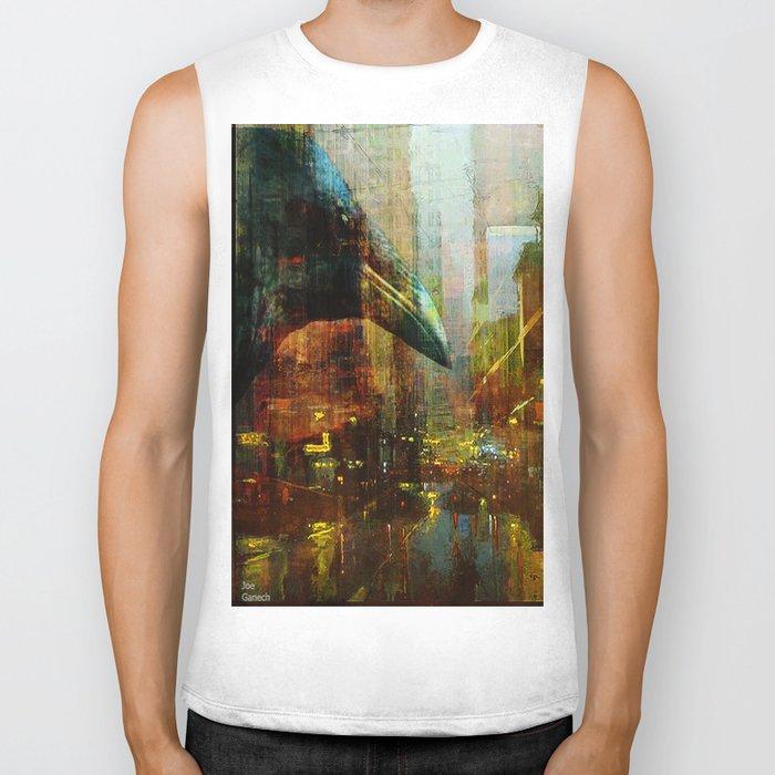 Crow in the geometrical city Biker Tank