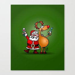 Santa Claus and his Reindeer Canvas Print