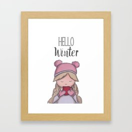 Hello winter | cold time | winter time | Art print | marker painting Framed Art Print