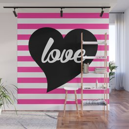 Love With Heart, Typography, Black Heart and Pink Stripes Wall Mural