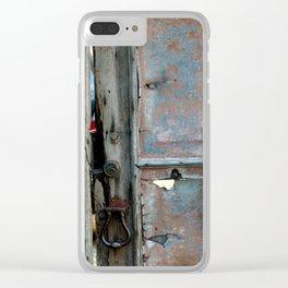 Rusty metal gate Clear iPhone Case