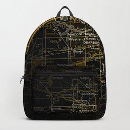 Detroit Michigan Black Dark Map Backpack