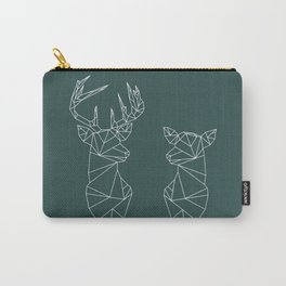 Geometric Stag and Doe (White on Slate) Carry-All Pouch
