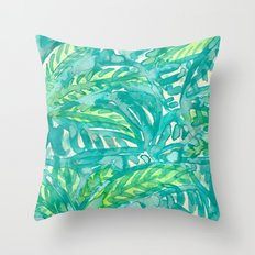 Turquoise & Lime Leaves Throw Pillow