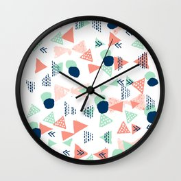 Navy painted shapes polka dots minimal basic decor mint peach and blue pattern Wall Clock