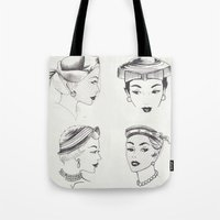 hats Tote Bags featuring Vintage Hats  by Little Bunny Sunshine