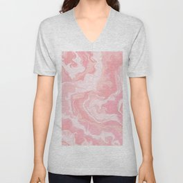 Elegant abstract pink coral white watercolor marble Unisex V-Neck
