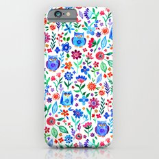 Little Owls and Flowers on White iPhone 6 Slim Case