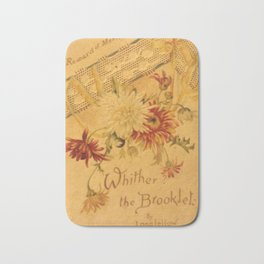 Antique Book Cover for literacy lovers  Floral with ivory and red #longfellow #poetry Bath Mat