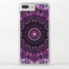 Purple mandala, crown chakra pattern sacred geometry, spiritual yoga art Clear iPhone Case