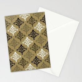 Cresta Damask Ptn Black White Bronzes Gold Stationery Cards