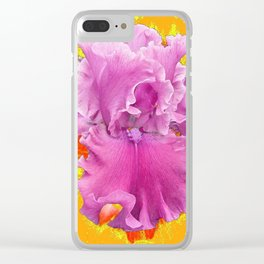PINK FRILLY GARDEN IRIS YELLOW ART Clear iPhone Case