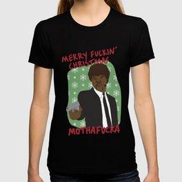 SAMUEL L JACKSON PULP FICTION JULES WINNFIELD MERRY CHRISTMAS T-shirt