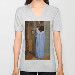 """Félix Vallotton """"Interior, woman in blue searching in a cupboard"""" Unisex V-Neck"""