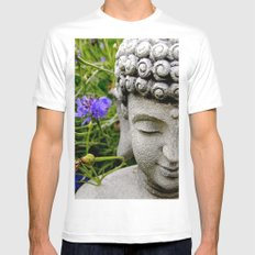 Peace Through Flowers Mens Fitted Tee MEDIUM White