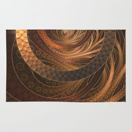 Earthen Brown Circular Fractal on a Woven Wicker Samurai Rug