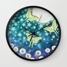 the moon, stars, luna moths, & dandelions Wall Clock