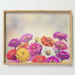 Colorful Blossom of Zinnia flowers Serving Tray