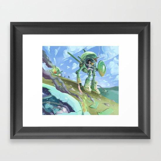 Robot + pin up Framed Art Print