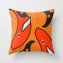 Whales - aboriginal Throw Pillow