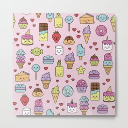 Kawaii Dessert Patten Metal Print