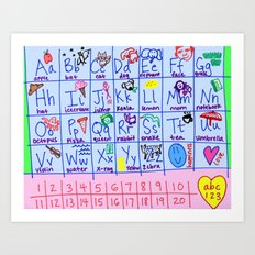 Alphabet and Numbers Art Print