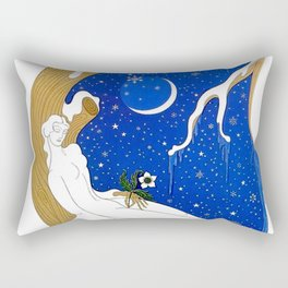 "Art Deco Design ""Winter – Season Series"" by Erté Rectangular Pillow"