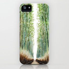 Arashiyama Bamboo Groove Kyoto Japan Watercolor Painting Green scenery landscape Bamboo Forest iPhone Case