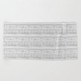 Mud Cloth on White Beach Towel