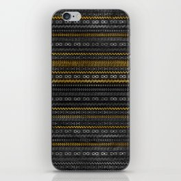 Gold and Silver Tribal Pattern on Black  wood iPhone Skin