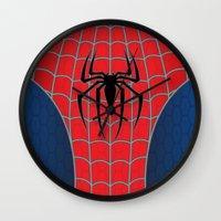 spider man Wall Clocks featuring Spider-Man by C.Rhodes Design