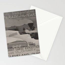 retro plakat The Transportation Parade of the years voyage poster Stationery Cards