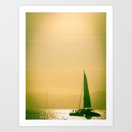 Sail Boat in the Bay Art Print