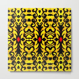 Yellow Ornate Column Pattern Metal Print