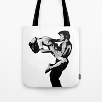 dirty dancing Tote Bags featuring Dirty Dancers by iankingart