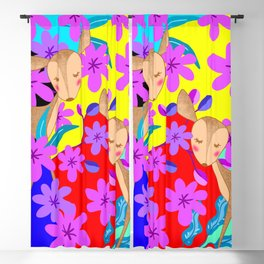 Cute wild sweet little baby deer fawns lost in the forest of delicate pink flowers colorful design Blackout Curtain