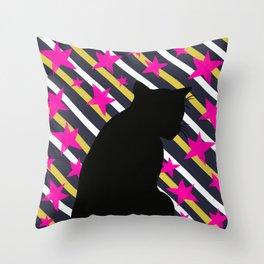 Black Cat on Gold Stripes n Pink Stars Throw Pillow