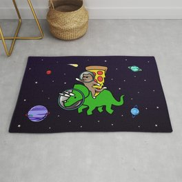 Cat And Pizza Riding Triceratops In Space Rug