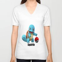 squirtle V-neck T-shirts featuring Squirtle by Yamilett Pimentel