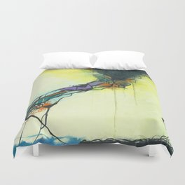 Glass and Smoke  - Square Abstract Expressionism Paintng Duvet Cover