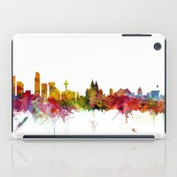 liverpool iPad Cases featuring Liverpool England Skyline Cityscape by artPause
