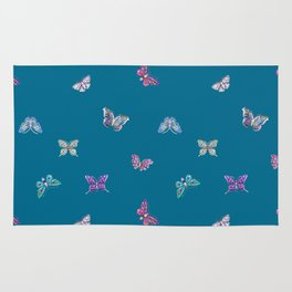 Christmas jeweled butterflies on teal, butterfly, jewels, precious, butterflies, new year, t Rug