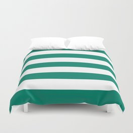 Generic viridian -  solid color - white stripes pattern Duvet Cover