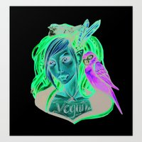 vegan Art Prints featuring Vegan by Mortimer Sparrow