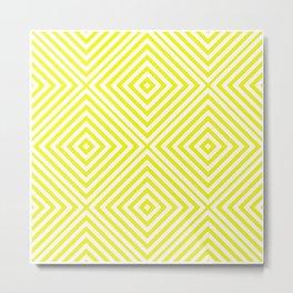 Lemon Elegant Diamond Chevron Metal Print