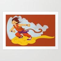 dragonball Art Prints featuring DragonBall: Goku and Nimbus by Michelle Rakar